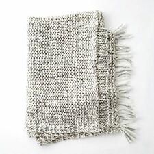 Chunky Knit Wool Blend Marle Grey Sofa Living Fringe Throw Blanket Rug 130x170cm