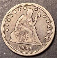 1891 S Seated Liberty Silver Quarter 25c Silver Type Coin Collectible Full Lib