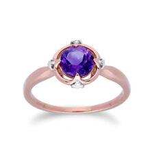 Anillos de joyería con gemas de oro rosa de amatista morado