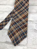 Structure Men's Silk Neck Tie Multi-Color Blue Orange Plaid Check USA 58x4""