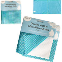 2 Microfibre Cleaning Cloths Kitchen Home Car Drying Towel Duster Polishing Dual