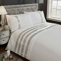 "Rapport ""Carly"" Embellished Diamante Bands Detail Duvet Cover Bedding Set White"