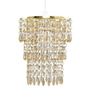 Gold Ceiling Light Shade Easy Fit Lighting Jewel Tier Droplets Bedroom Lampshade