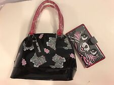 Iron Fist Heart Kitty Dome Satchel Purse And  Kitty Wallet