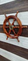 Vintage Marine Nautical Wooden Ship Wheel Pirate Collectible Wall Decor