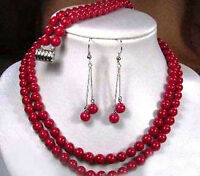 2 Rows Natural Tibet Red Coral Round Beads Necklace Earrings Bracelet Set AAA