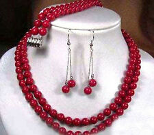 2 Rows Japan Sea Red Coral Round Gems Beads Necklace Earrings Bracelet Set AAA