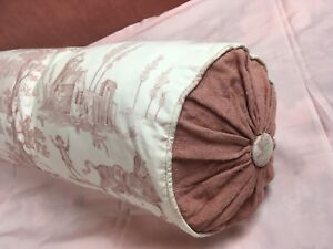 Super Vintage French Toile De Jouy Bolster Cover & Feather Cushion 90cm 1 of 2