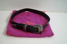 ETRO Black Leather & Silver Tone Metal Choker / Collar Necklace