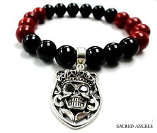 Silver Skull Charm Strech Bracelet With Black  Diamonds by Sacred Angels