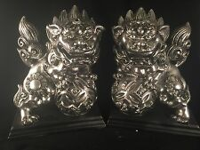"""7"""" Pair Of Fu Dogs, Foo Dogs  Feng Shui Silver Color  Home Decor (make Offer)"""