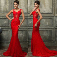 Red Long Fishtail Evening Formal Party Ball Gown Prom Bridesmaid Dress Size 6-20