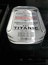 R.M.S. Titanic 🔱 Glass Paperweight 🔱 Boarding Pass & TITANIC FINE SILVER $10