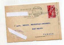 STORIA POSTALE 1948 REP. LIRE 10 POSTA AEREA SU CARTOLINA POSTALE 6/8/D- 07626