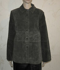 Superb Brown Suede MASSINI Button Fitted Hip Length Jacket Blazer Size L Grunge
