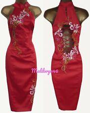 KAREN MILLEN ✩ STUNNING RED EMBROIDERED ORIENTAL CORSET WIGGLE DRESS ✩ UK 8 ✩