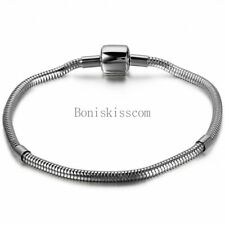 Men's Women's Stainless Steel European Charm Bead Bracelet w Cylinder Ends