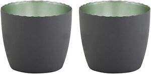 Matte Grey and Sage Colored Votive Candle Holders for Dining Room, Pack of 2