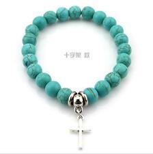 Fashion Natural Blue Turquoise Stone Bead Tibet Silver Elephant Charm Bracelet