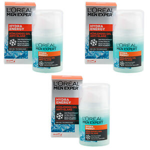 Loreal Men Expert Hydra Energy kühlendes Gel Anti Glanz 3 x 50ml nicht fettend