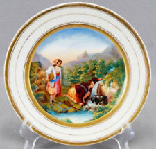 19th Century Old Paris Porcelain Hand Painted People & Dogs Drinking Water Plate