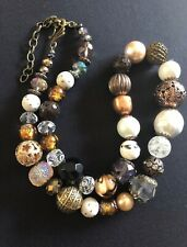 Boho bohemian brass, crystal, bronze and pearl shaby vintage chic necklace.