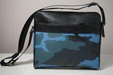 Coach Charles Camo Dusk Blue Pebble Leather Camera Crossbody Bag F29052
