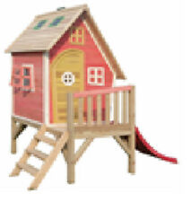 Crooked Playhouse Cottage House (PINK) Tower Wooden Garden Outdoor Den Play
