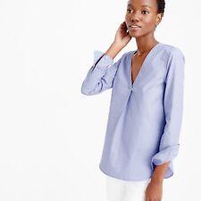 $148 J.CREW Size 12 Thomas Mason V-neck Shirt In End-on-end Style E8430