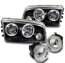 2006-2009 DODGE CHARGER BLACK PROJECTOR HALO LED HEADLIGHT+CLEAR BUMPER FOG LAMP