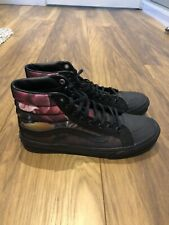 VANS FLORAL PRINT BLACK SKATE SHOES/BOOTS HITOP TRAINERS SIZE 4.5/37.5 NEW