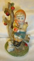 "Vintage Goebel Ceramic Figurine Girl In Apple Tree & Bunny Rabbit 5.5"" Tall  38"