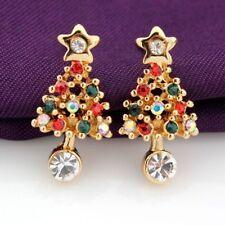 Ear Stud Pierced 1 Pair Rhinestone Fashion Women Christmas Tree Earrings 2018