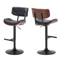Set of (2) Tufted Bentwood Upholstered Adjustable Height Swivel Bar Stool, Black