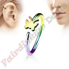 316L Surgical Steel Rainbow Ion Plated Nose & Ear Cartilage Ring with Butterfly