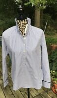 Vineyard Vines Striped Ruffle Top Long Sleeve Tunic Size 4 Blue White NWT