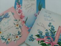 3 Vtg 1950s DAUGHTER Norcross & Rust Craft BIRTHDAY GREETING CARDS