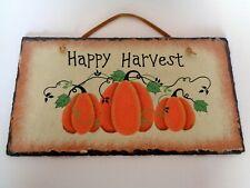 """Happy Harvest"" Autumn Pumpkin Sign on Slate"