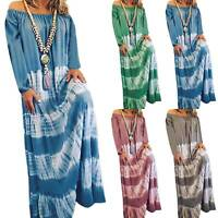 Plus Size Womens Boho Tie Dye Off Shoulder Long Sleeve Loose Maxi Dress Party US