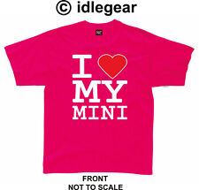 "Classic Mini Cooper 1275gt T Shirt "" I Love My Mini ""  pink"