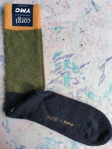 YMC You Must Create X Corgi Mens Socks Mohair Colour Block Orange Green UK 9-11