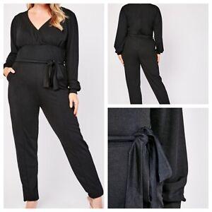 Ladies Black Jumpsuit Size 20 PINK CLOVE Stretchy Pockets Belt Tapered NEW NWOT