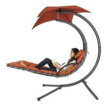 Hanging Chaise Lounger Chair Arc Stand Porch Swing Hammock Canopy - Red/Orange!