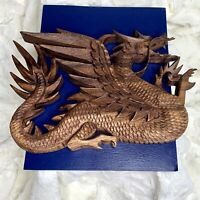 Vintage Beautiful Carved Wood Chinese Dragon Wall Art Hanging 11.5in x 8in EUC
