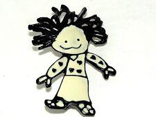 Vtg Black White Enamel Cupie Doll Girl Hearts Precious Frilly Hair Brooch Pin