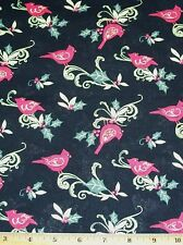 Cardinal Swirl with Holly Susan Winget 100% Cotton Fabric By Yards Springs