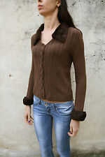 Liu Jo Buttons Cardigan Womens Brown Fur neck cuffs Italy Striped Knit S Small