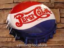 Pepsi Cola Embossed Metal Tin Bottle Cap Vintage Style Sign Double Dot Advertise