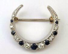 9ct 9k 375 Yellow / White Gold, Diamond & Sapphire Crescent Brooch - Hallmarked