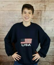 VTG Men's 'New Era' Brand Navy-Blue American Flag USA Crewneck Sweater XL